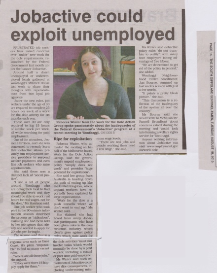 Report on Dole Action involvement in a community forum in Wonthaggi, from the South Gippsland Sentinel, 18 August.